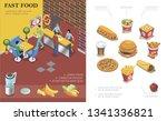 isometric fast food restaurant... | Shutterstock .eps vector #1341336821