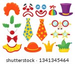 clown props set  funny colorful ... | Shutterstock .eps vector #1341345464