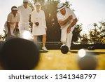 senior man in hat bending... | Shutterstock . vector #1341348797