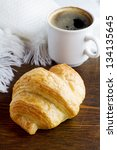 croissant and cup of coffee | Shutterstock . vector #134135645