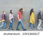 happy friends walking together... | Shutterstock . vector #1341360617