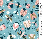 seamless pattern with cute bugs ... | Shutterstock .eps vector #1341373997