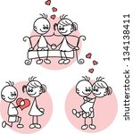 couple in love  a child's... | Shutterstock .eps vector #134138411