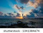 landscape of the sundown in sea ... | Shutterstock . vector #1341384674