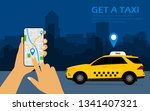 get a taxi  mobile phone with...   Shutterstock .eps vector #1341407321