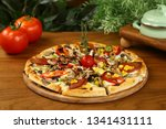 Delicious Pizza On Wooden Board