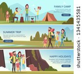 family hiking banners. kids... | Shutterstock .eps vector #1341435581