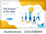 landing page with man holding... | Shutterstock .eps vector #1341438044