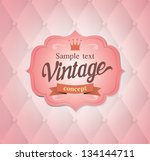 Vector Vintage Frame On Pink...