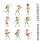 kids in scout costumes. young... | Shutterstock .eps vector #1341456317