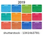 colorful calendar 2019. week... | Shutterstock .eps vector #1341463781