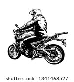 vector sketch motorbike rider...   Shutterstock .eps vector #1341468527