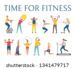 time for fitness  people doing... | Shutterstock .eps vector #1341479717
