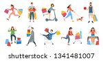 people shopping vector  woman... | Shutterstock .eps vector #1341481007