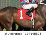 Stock photo the number one horse prepares to enter the start gate at horse track 134148875