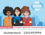 anchorman on tv broadcast news. ... | Shutterstock .eps vector #1341493994