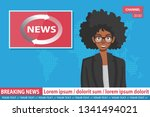 african american anchorwoman on ... | Shutterstock .eps vector #1341494021