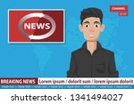 anchorman on tv broadcast news. ... | Shutterstock .eps vector #1341494027