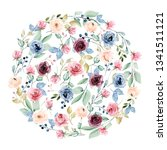 floral circle with watercolor... | Shutterstock . vector #1341511121