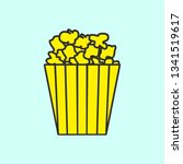 popcorn line mono color icon ....