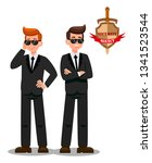 two bodyguards on mission flat... | Shutterstock .eps vector #1341523544