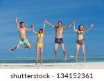 group of happy young people... | Shutterstock . vector #134152361