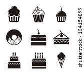 cakes icons over white...