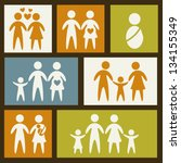 family icons over squares... | Shutterstock .eps vector #134155349