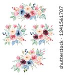 floral set bouquets with... | Shutterstock . vector #1341561707