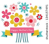 vector mothers day card in... | Shutterstock .eps vector #134157491