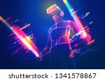 virtual reality gaming. man... | Shutterstock .eps vector #1341578867