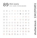 set of 89 vector thin icons for ...