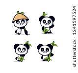 cute panda with bamboo | Shutterstock .eps vector #1341597524