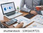 business casual team meeting... | Shutterstock . vector #1341619721