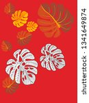 vector tropical pattern with... | Shutterstock .eps vector #1341649874