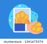 hand giving money from tablet... | Shutterstock .eps vector #1341675374