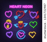 heart love neon icons  vector... | Shutterstock .eps vector #1341722987