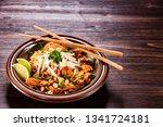 pad thai   grilled meat and... | Shutterstock . vector #1341724181