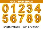 gold numerals set vector.... | Shutterstock .eps vector #1341725054