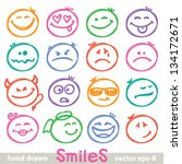set of hand drawn smiles on... | Shutterstock .eps vector #134172671