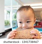 little asian boy eating whole... | Shutterstock . vector #1341738467