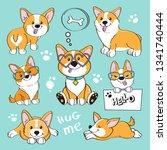 cute dog corgi collection on a...   Shutterstock .eps vector #1341740444