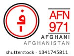 AFN, 971, Afghani, Afghanistan Banking Currency icon typography logo banner set isolated on background. Abstract concept graphic element. Collection of currency symbols ISO 4217 signs used in country