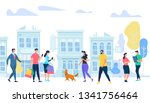 people lifestyle in city. men... | Shutterstock .eps vector #1341756464