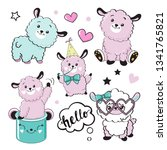 cute pink llamas collection on... | Shutterstock .eps vector #1341765821