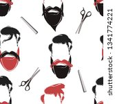 seamless pattern of beards and... | Shutterstock .eps vector #1341774221