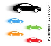 Stock vector set of vector color moving cars silhouettes 134177927