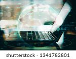 laptop with global forex chart. ... | Shutterstock . vector #1341782801