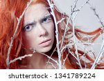 redhead girl with long hair  a... | Shutterstock . vector #1341789224