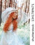 beautiful redhead woman forest... | Shutterstock . vector #1341789671